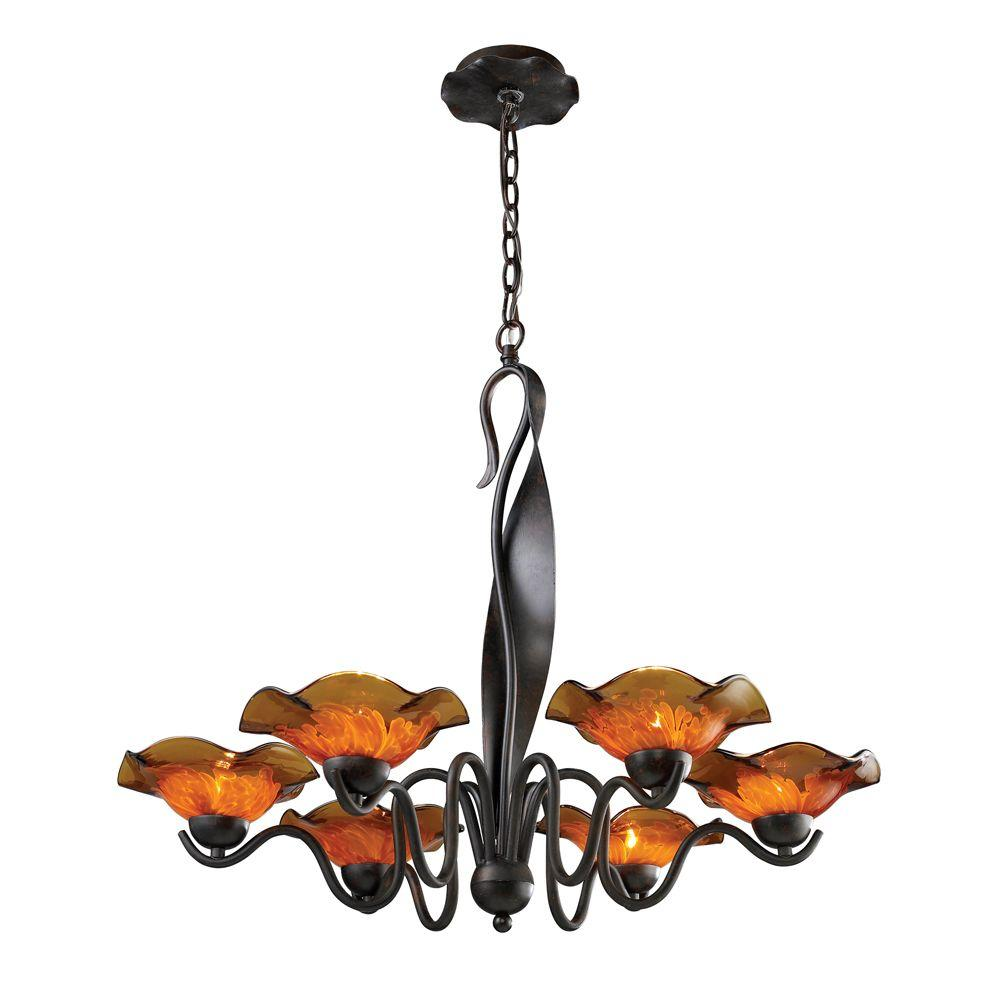 Titan Lighting 6-Light Ceiling-Mount Weathered Rust Chandelier-DISCONTINUED