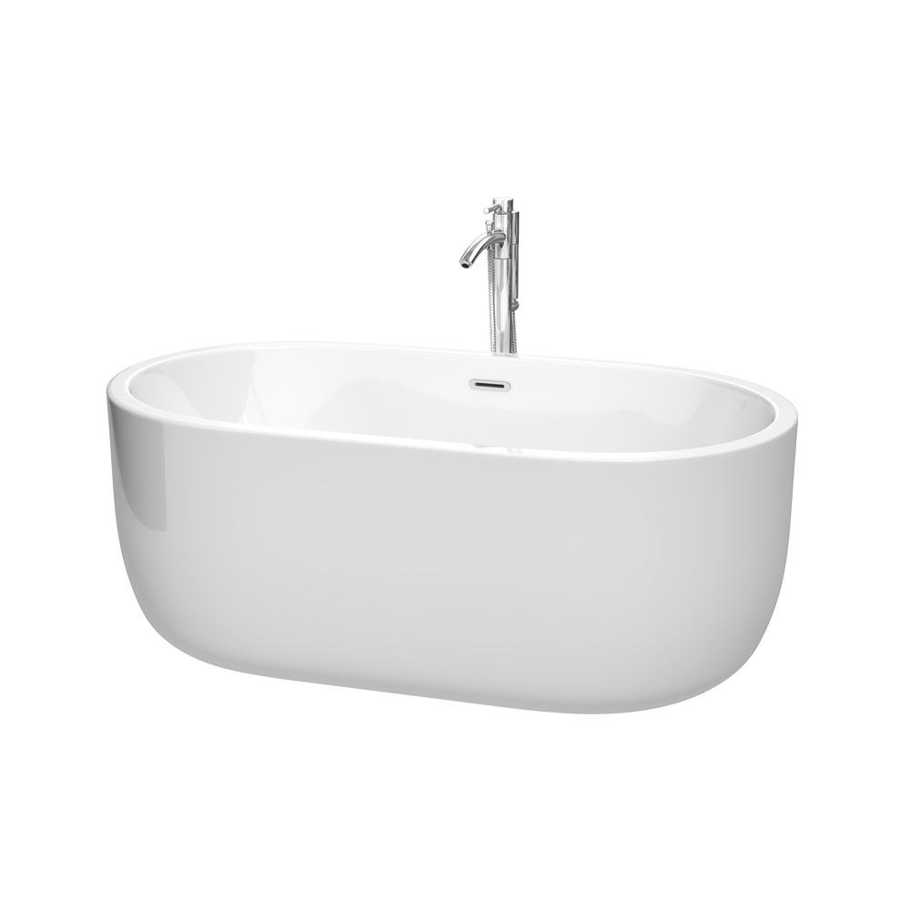 Wyndham Collection Juliette 5 ft. Acrylic Flatbottom Non-Whirlpool ...