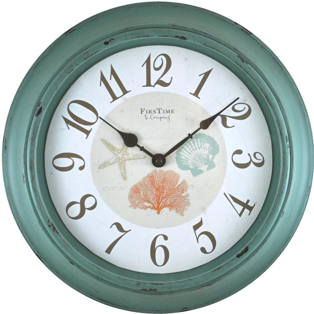 FirsTime & Co. Turquoise Shells Wall Clock was $45.0 now $21.44 (52.0% off)
