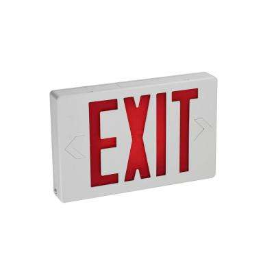 11 in. White and Red Integrated LED Exit Emergency Sign