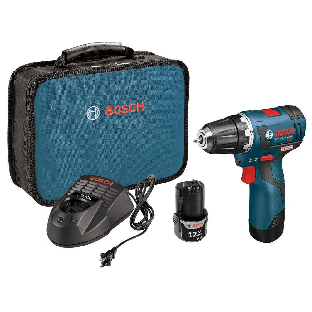 Bosch 12 Volt Lithium-Ion Cordless 3/8 in. Variable Speed EC Brushless Drill/Driver Kit with Carrying Case