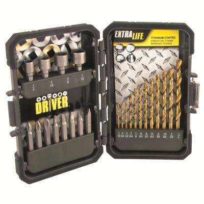 Industrial Titanium Drill and Drive Drill Bit Screwdriver Bit, Nut Setter Set 24-Piece for General-Purpose and DIY Use