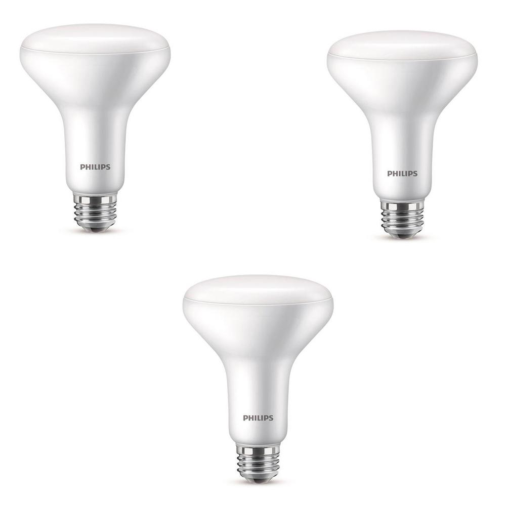 Philips 65-Watt Equivalent with Warm Glow BR30 Dimmable LED ENERGY STAR Light Bulb, Soft White (3-Pack)