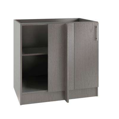 Assembled 39x34.5x24 in. Miami Island Blind Outdoor Kitchen Base Corner Cabinet w/Full Height Doors Left in Rustic Gray