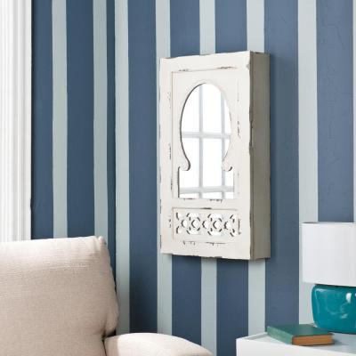 Garrison Shabby Chic 30 in. x 17 in. Wall Mount Jewelry Mirror in Antique White