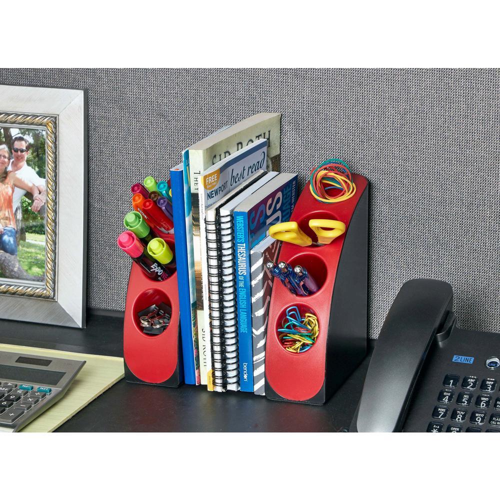 Smart Red Quarter Bookend Desk Organizer