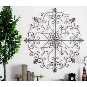 Iron Bronze Patina Scrollwork Design with Fleur-De-Lis Central and Side Accents Wall Decor by