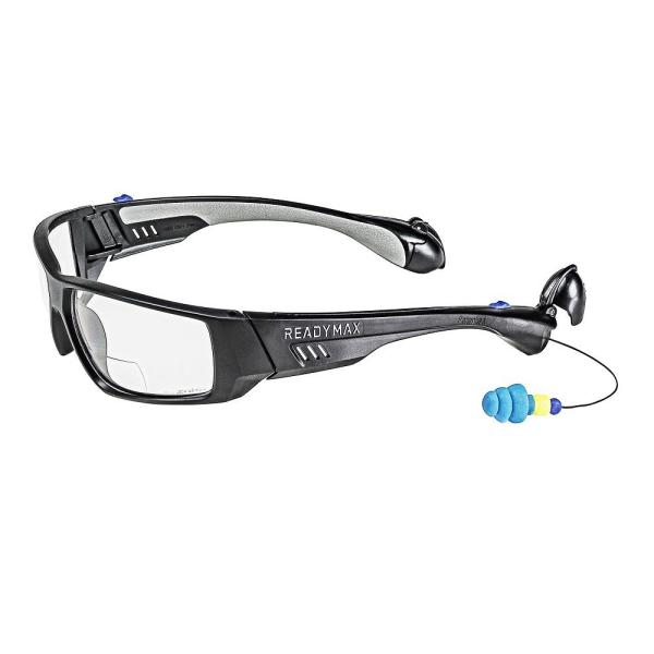 Pro Series 1 Safety Glasses Black Frame Bi-Focal 2.0 Clear Lens with NRR 25 db Silicone PermaPlugs