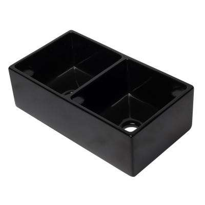 Farmhouse Fireclay 32.625 in. 50/50 Double Bowl Kitchen Sink in Black Gloss