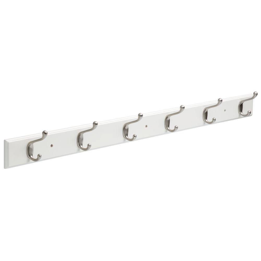 White And Satin Nickel Hook Rack