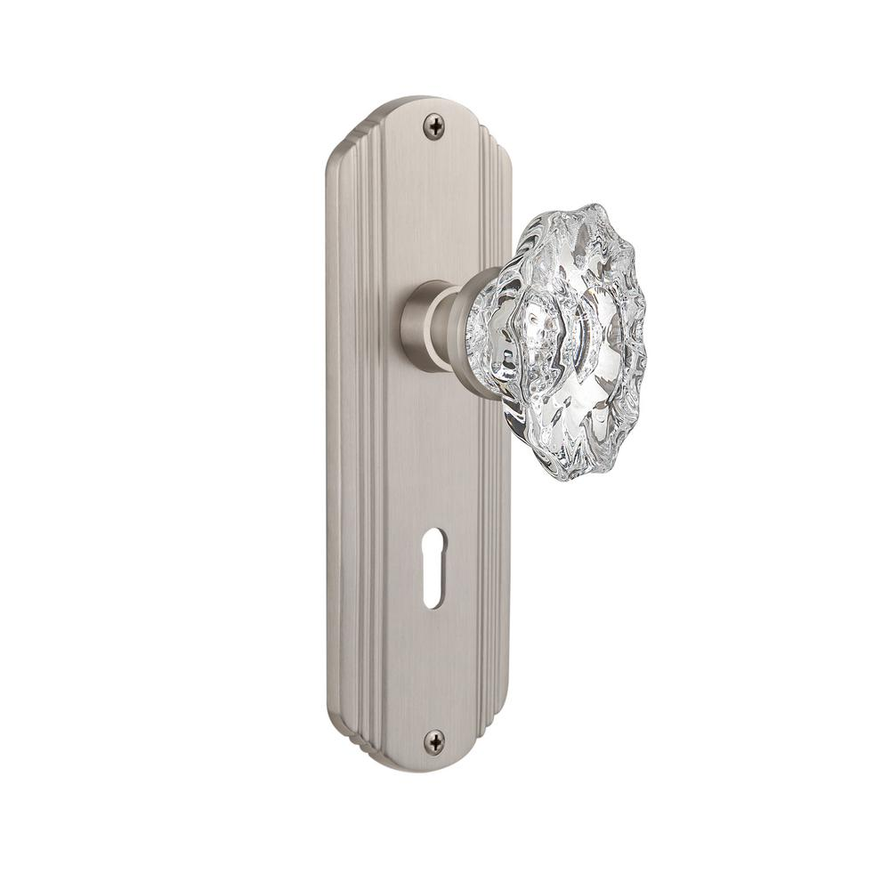 Deco Plate with Keyhole Double Dummy Chateau Door Knob in Satin  sc 1 st  The Home Depot & Nostalgic Warehouse Mission Plate with Keyhole Single Dummy Chateau ...