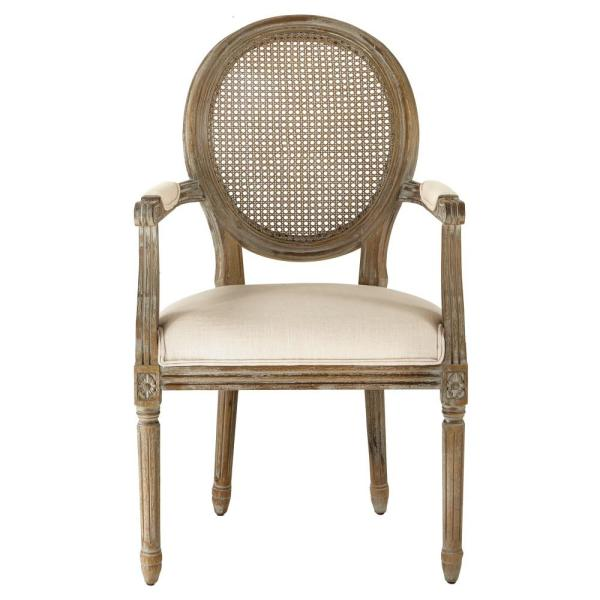 Home Decorators Collection Jacques Antique Brown Oval Back Dining Arm Chair