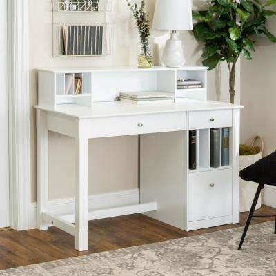 Clara White Desk with Hutch