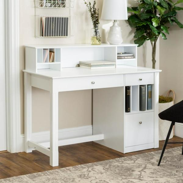 Home Furniture Company: Walker Edison Furniture Company Clara White Desk With