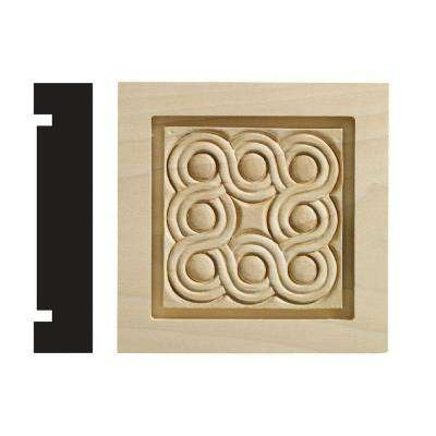 Rondele Collection 1-3/16 in. x 5-1/2 in. x 5-1/2 in. White Hardwood Casing Door and Window Corner Block Moulding
