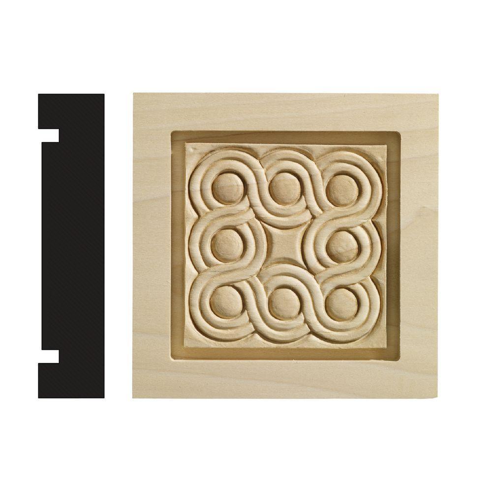 Rondele Collection 1-3/16 in. x 5-1/2 in. x 5-1/2 in. White Hardwood Casing Door and Window Corner Block Moulding