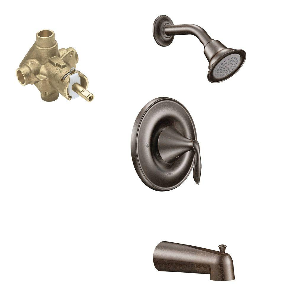 MOEN Eva Single-Handle 1-Spray Tub and Shower Faucet Trim Kit with Valve in Oil Rubbed Bronze (Valve Included)