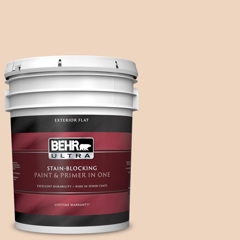 BEHR ULTRA 4 gal. #PPU4-4 Porcelain Skin Flat Exterior Paint and Primer in  One
