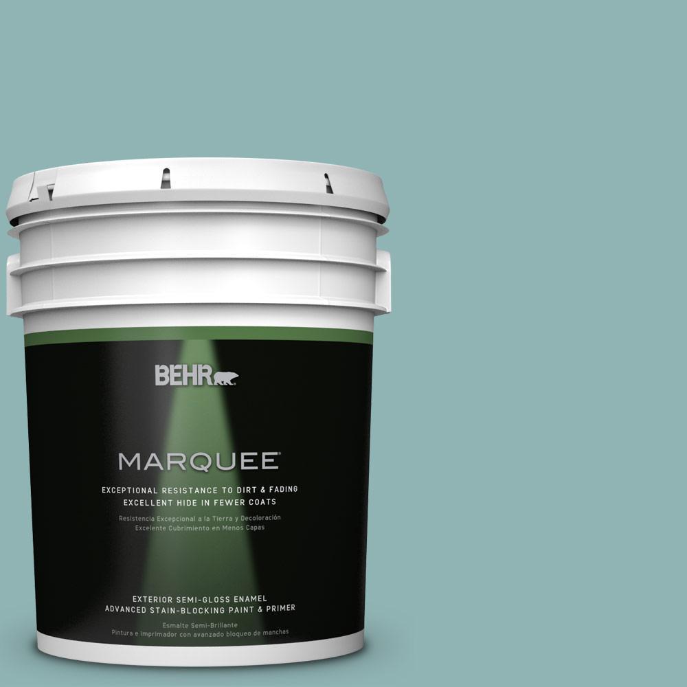 BEHR MARQUEE 5-gal. #BIC-24 Artful Aqua Semi-Gloss Enamel Exterior Paint