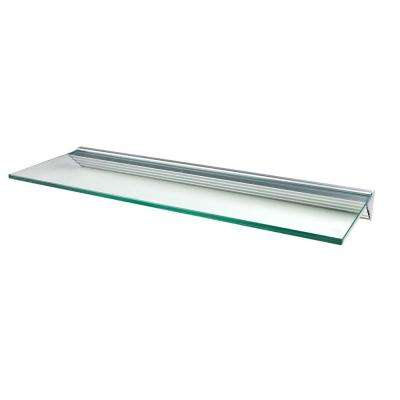Glacier Clear Glass Shelf with Silver Bracket Shelf Kit (Price Varies By Size)