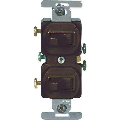 15 Amp Commercial Grade Toggle Duplex Switch, Brown