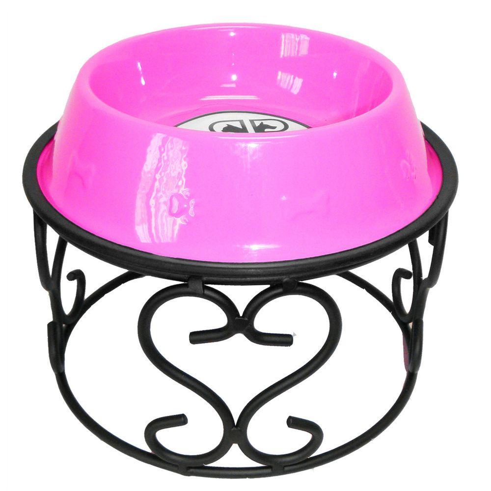Platinum Pets 6.25 Cup Wrought Iron Scroll Single Feeder with Embossed Non-Tip Bowl in Pink