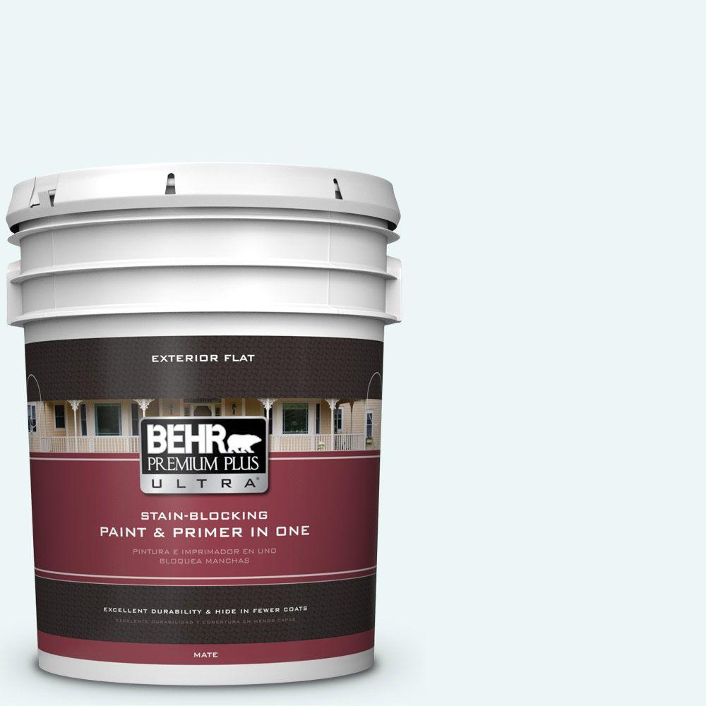 BEHR Premium Plus Ultra 5-gal. #PPL-15 Icy Wind Flat Exterior Paint