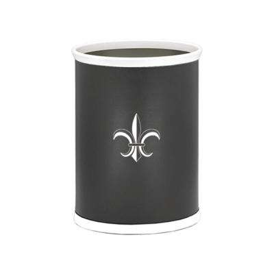Kasualware Fleur de Lis 13 Qt. Oval Waste Basket in Black