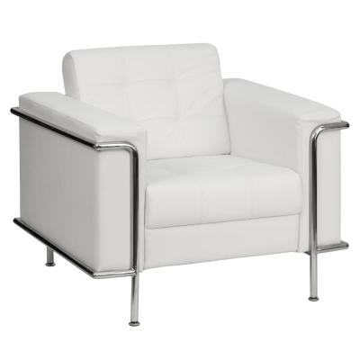 Hercules Lesley Series Contemporary White Leather Chair with Encasing Frame