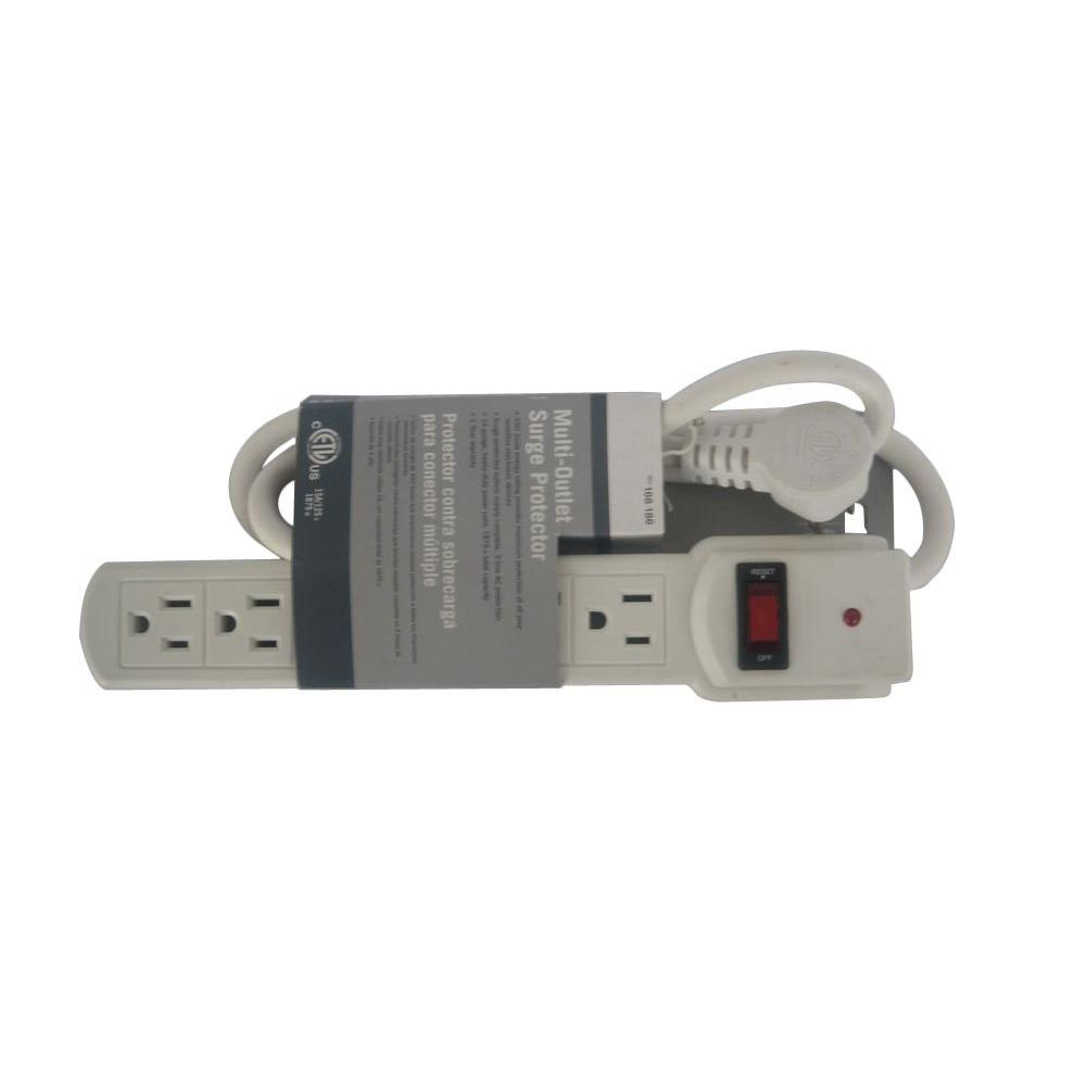 null 6-Outlet Surge with 3 ft. Cord 45 Degree Angle Plug