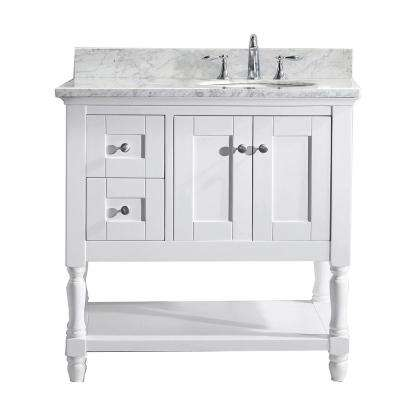 Julianna 36 in. W Bath Vanity in White with Marble Vanity Top in White with Round Basin