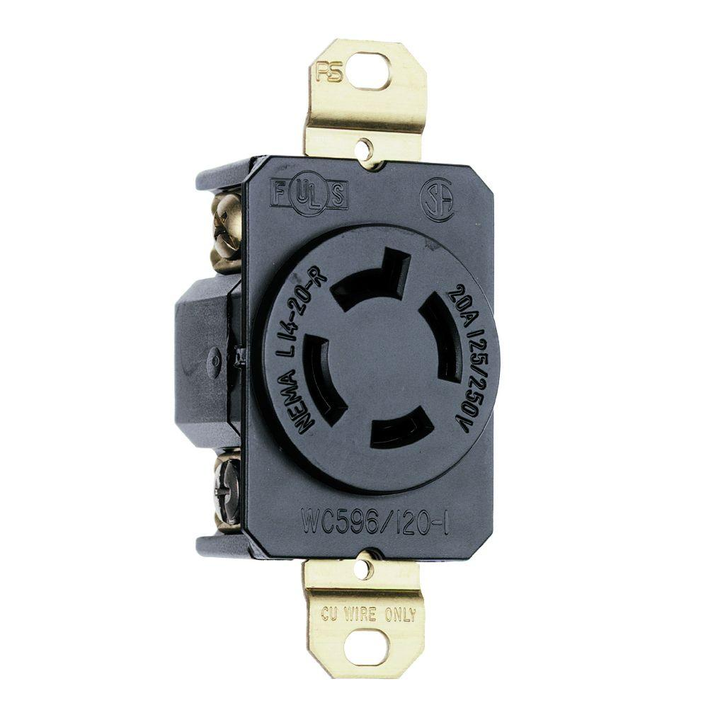 Legrand Pass And Seymour Turnlok 20 Amp Single Locking Outlet Way Gradienter Switch Sensor Black