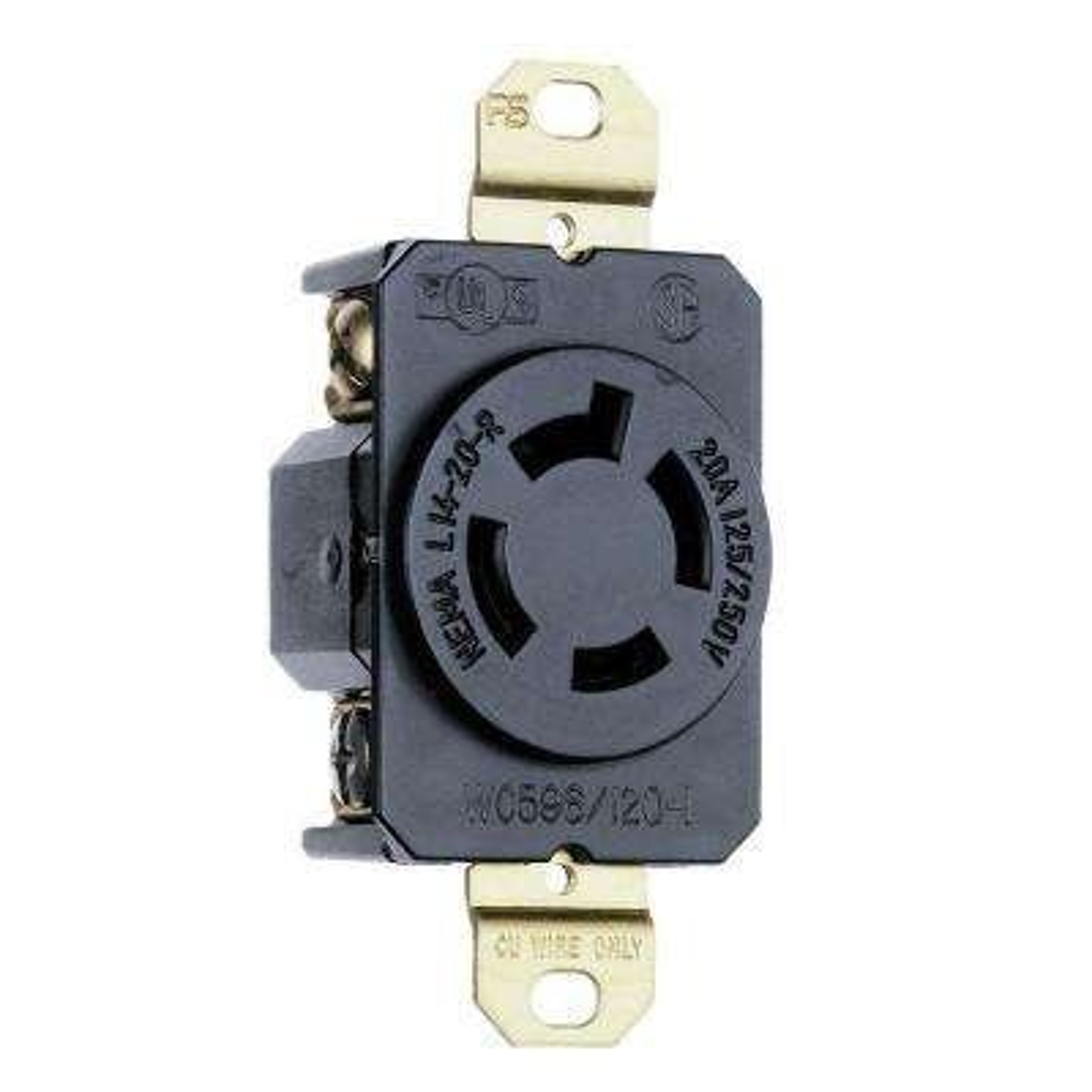Turnlok 20-Amp Single Locking Outlet - Black