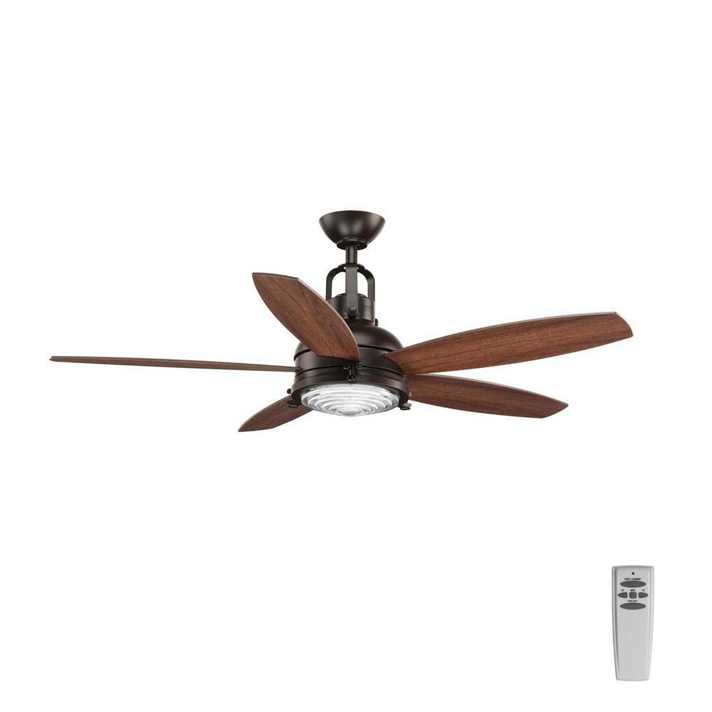 Progress Lighting Kudos 52 in. LED Indoor Antique Bronze Ceiling Fan with Light Kit and Remote