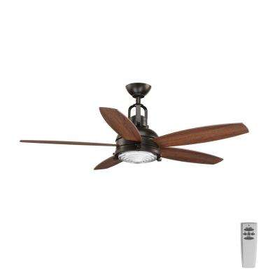 Kudos 52 in. LED Indoor Antique Bronze Ceiling Fan with Light Kit and Remote