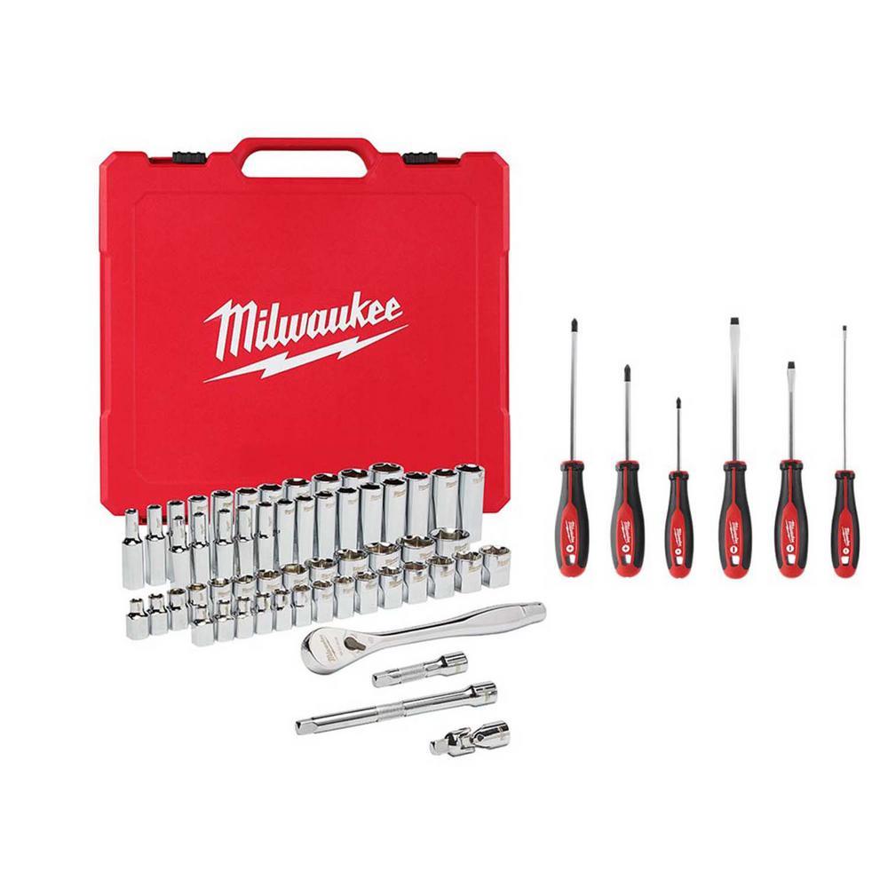 56-Piece Milwaukee Ratchet and Socket Tool Set + 6-Piece Screwdriver Set