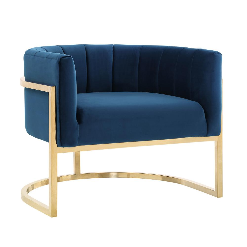 Tov Furniture Magnolia Navy Chair With Gold Base