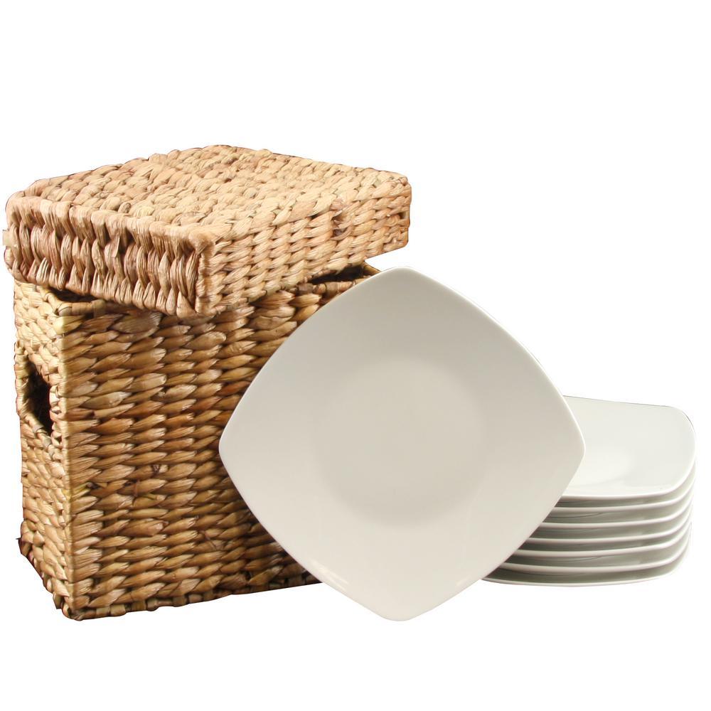 Gibson Zen Buffetware White Square Dessert Plates (Set of 8)