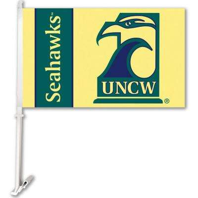 NCAA 11 in. x 18 in. UNC Wilmington 2-Sided Car Flag with 1-1/2 ft. Plastic Flagpole (Set of 2)