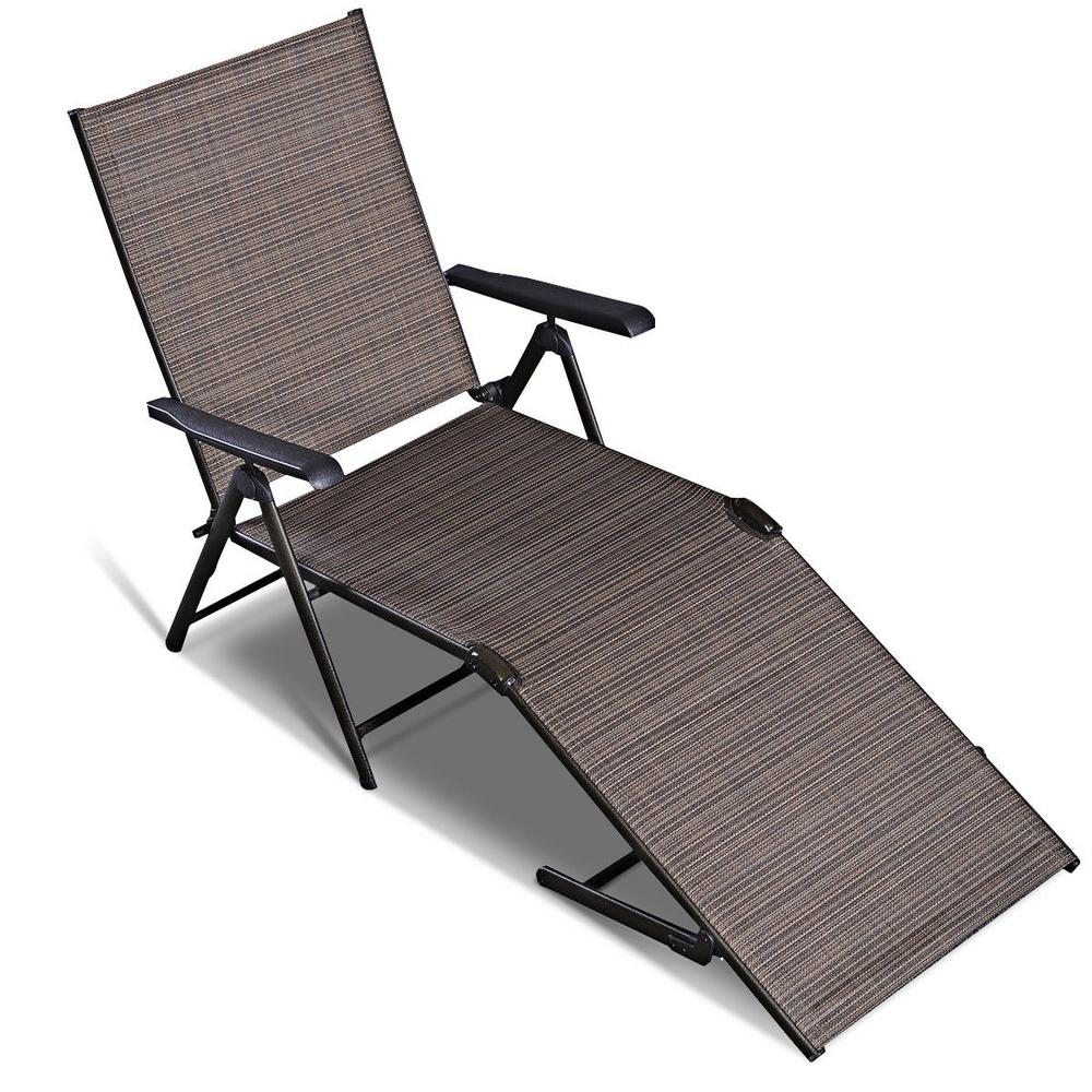 Costway Steel Pool Chair Recliner Patio Furniture Adjule Outdoor Chaise Lounge
