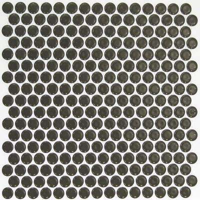 Bliss Edged Penny Round Dark Gray 12 in. x 12 in. x 10 mm Polished Ceramic Mosaic Tile