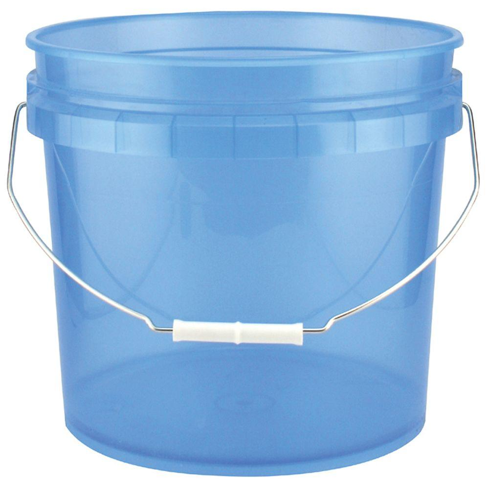 Leake 3 5 Gal Blue Plastic Translucent Pail Pack Of