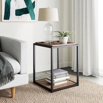 Nash 22 in. Rustic Oak Accent End Table or Modern Side Table with Tray Top Shelves and Matte Black Metal Frame