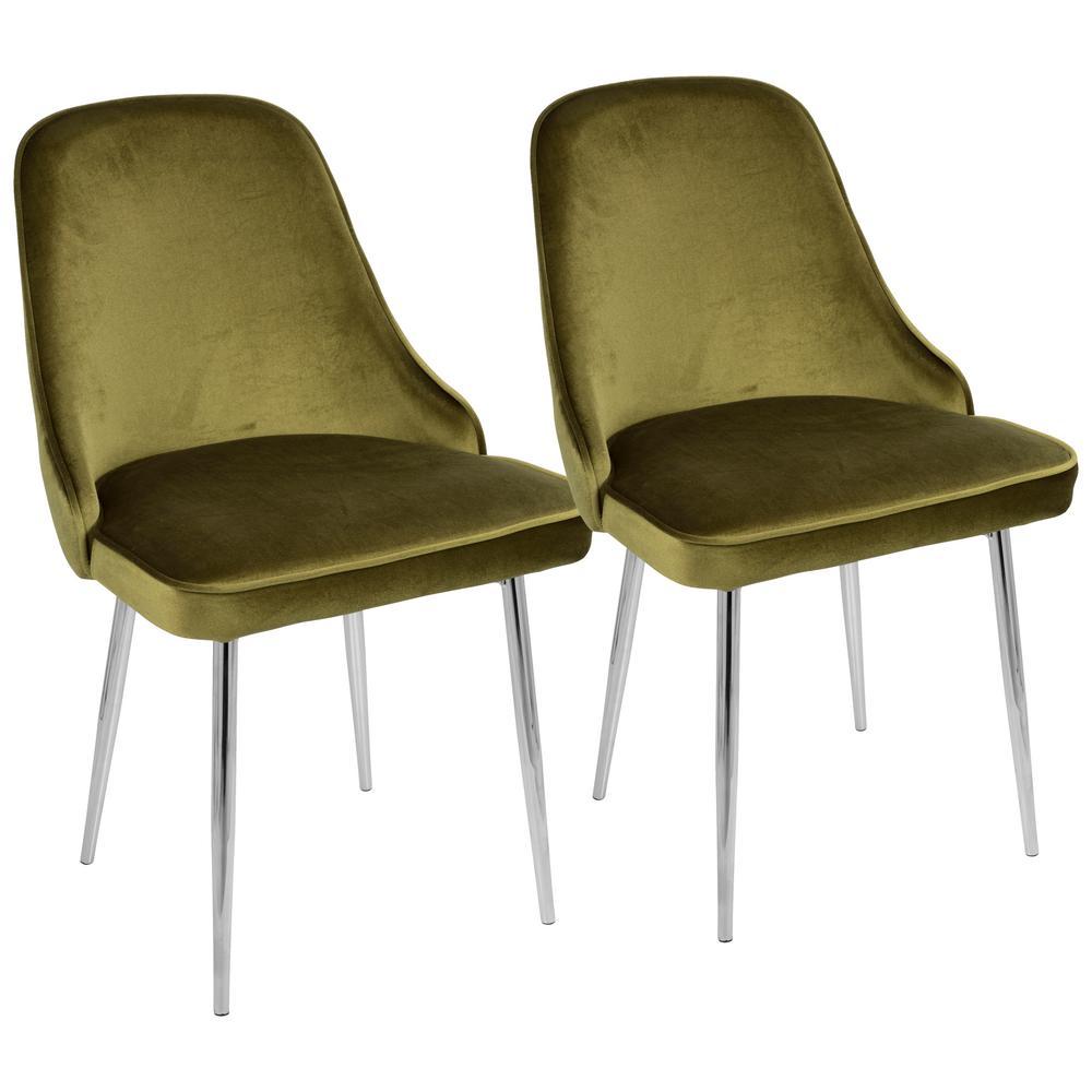 Chrome and Green Marcel Velvet Dining Chair (Set of 2)