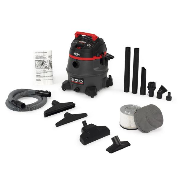 RIDGID 14 Gal. 2-Stage HEPA Commercial Wet/Dry Shop Vacuum with Filter, Dust Bag, Professional Hose and Accessories