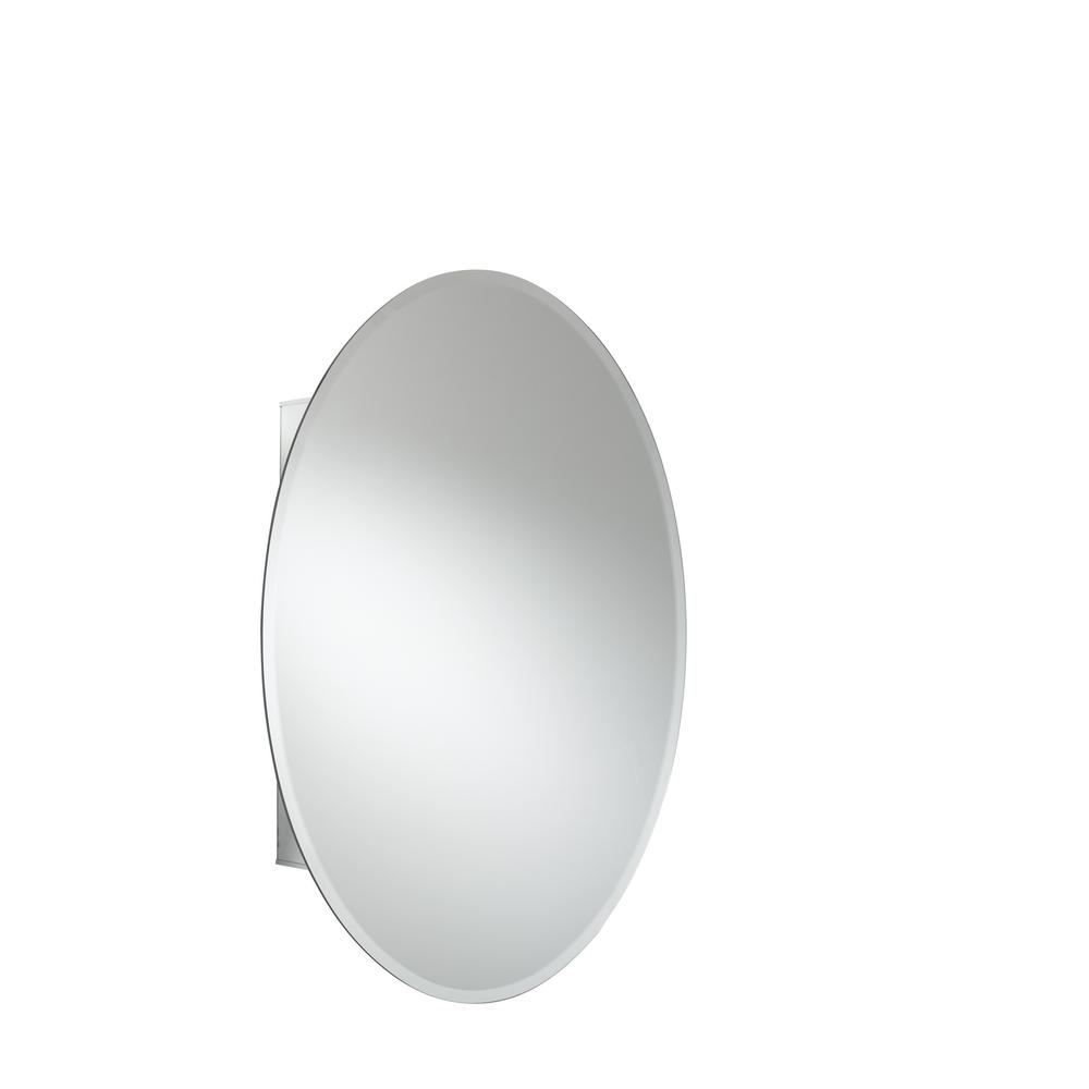 JACUZZI 21 in. x 31 in. Recessed or Surface Mount Single Door Oval Medicine Cabinet