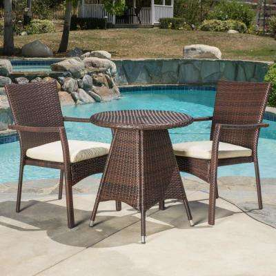 Georgina Multi-Brown 3-Piece Wicker Outdoor Dining Set