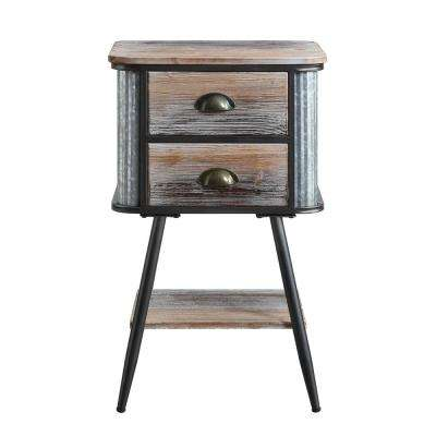 Alta Wood and Gray and Black Metal End Table
