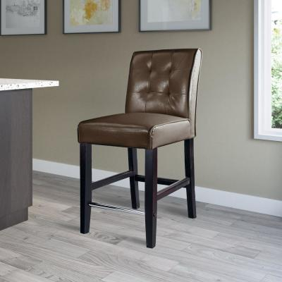 Antonio 25 in. Counter Height Dark Brown Bonded Leather Bar Stool
