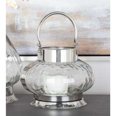 12 in. Silver-Finished Stainless Steel Glass Pumpkin Candle Lantern